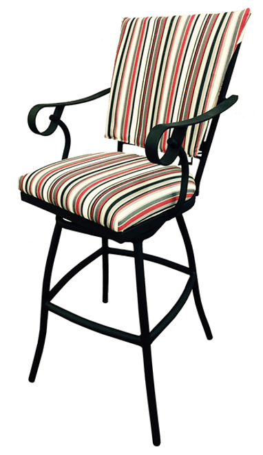 Tobias Jenna with Arms Upholstered Back Outdoor Stool