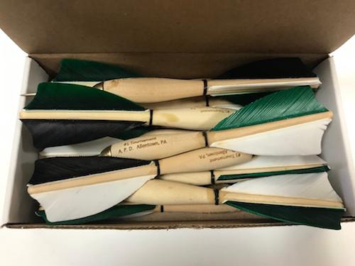APD No.1 Official Tournament Darts Black/Green/White Feather (Dozen)