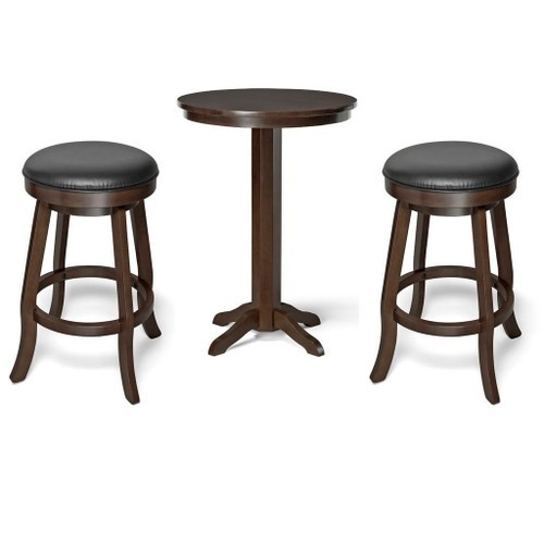 Brunswick Traditional Pub Table and Backless Bar Stools Espresso