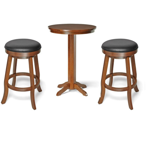Brunswick Traditional Pub Table and Backless Bar Stools Chestnut