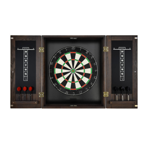 Imperial Dart Board & Cabinet Set - Weathered Dark Chestnut Finish