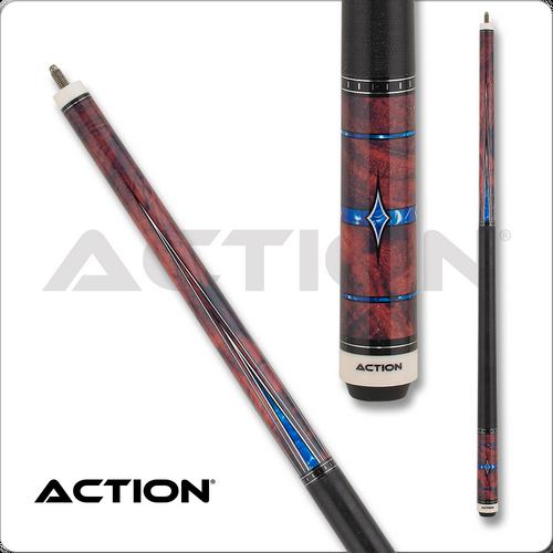 Action Fractal ACT155 Burl w/ Blue Diamonds & Points Pool Cue