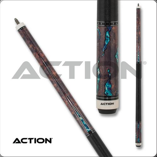 Action Fractal ACT154 Walnut w/ Aqua Pool Cue