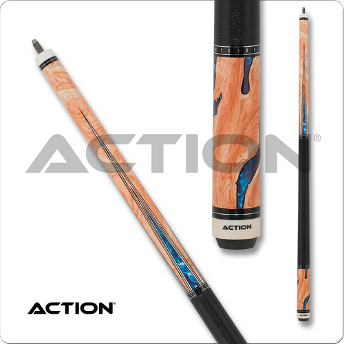 Action Fractal ACT153 Burl Wood Overlay with Water Design Pool Cue