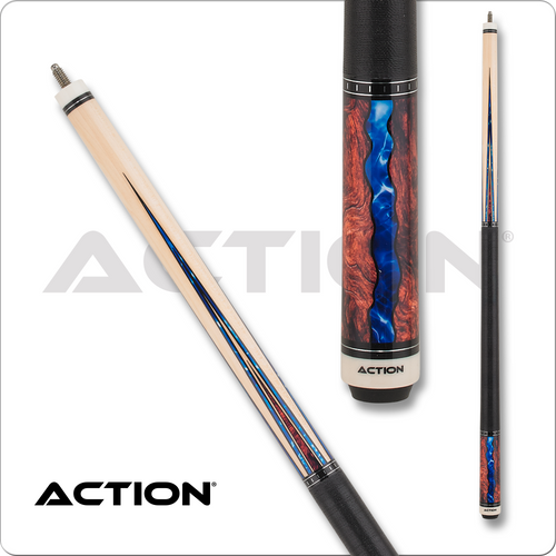 Action Fractal ACT152 Maple with Burl & Blue Points Pool Cue