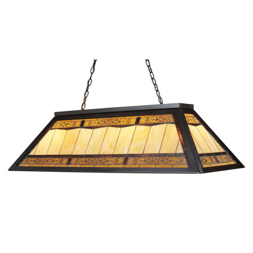 ELK Lighting Filigree 4-Light Billiard Light in Tiffany Bronze with Tiffany Style Glass