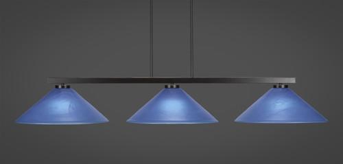 "Toltec Atlas 3-Light Bar Shown in Dark Granite Finish with 16"" Blue Italian Glass"