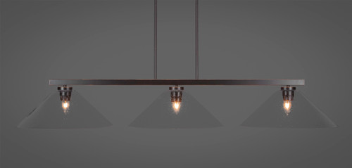 "Toltec Atlas 3-Light Bar Shown in Dark Granite Finish with 16"" Clear Bubble Glass"