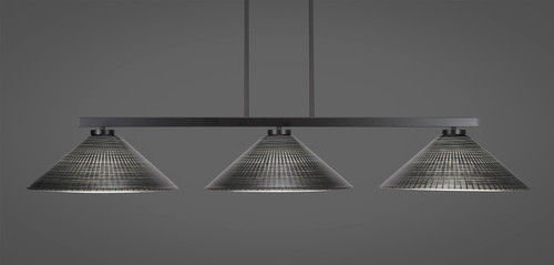 "Toltec Atlas 3-Light Bar Shown in Matte Black Finish with 16"" Black Matrix Glass"