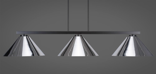 "Toltec Atlas 3-Light Bar Shown in Matte Black Finish with 16"" Chrome Cone Metal Shades"