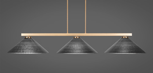 """Toltec Atlas 3-Light Bar Shown in New Age Brass Finish with 16"""" Black Matrix Glass"""