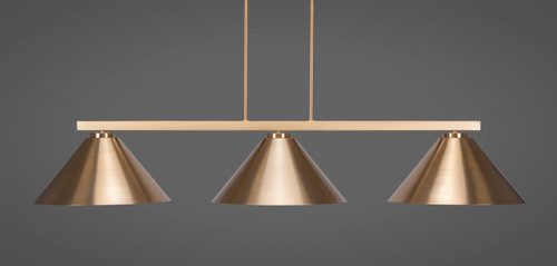 """Toltec Atlas 3-Light Bar Shown in New Age Brass Finish with 16"""" New Age Brass Cone Metal Shades"""