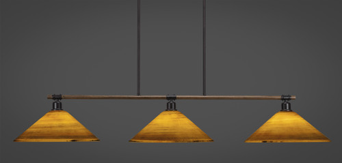 "Toltec Blacksmith 3-Light Bar with 16"" Firré Saturn Glass.  Model number 1763-414."