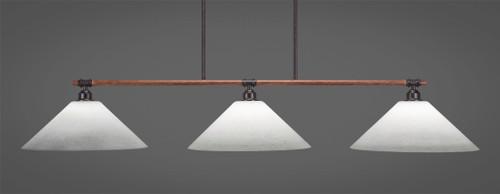 "Toltec Blacksmith 3-Light Bar with 16"" White Muslin Glass"