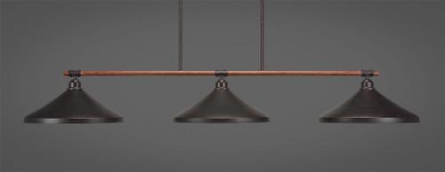 "Toltec Blacksmith 3-Light Bar with 14"" Dark Granit Metal Shades"