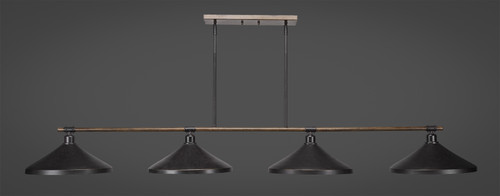 "Toltec Blacksmith 4-Light Bar with 14"" Dark Granite Metal Shades"