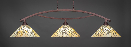 """Toltec Bow 3-Light Bar in Bronze Finish with 16"""" Sandhill Art Glass"""