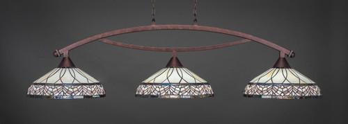 "Toltec Bow 3-Light Bar in Bronze Finish with 16"" Royal Merlot Art Glass"