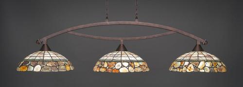 "Toltec Bow 3-Light Bar in Bronze Finish with 16"" Cobblestone Art Glass"