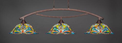 "Toltec Bow 3-Light Bar in Bronze Finish with 19"" Kaleidoscope Art Glass"