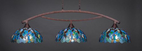 "Toltec Bow 3-Light Bar in Bronze Finish with 16"" Blue Mosaic Art Glass"