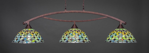 "Toltec Bow 3-Light Bar in Bronze Finish with 16"" Crescent Art Glass"