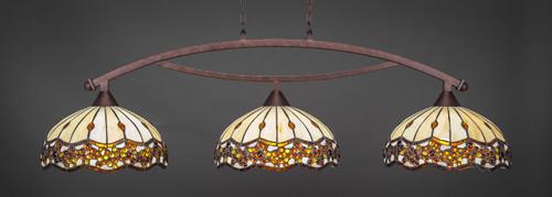 "Toltec Bow 3-Light Bar in Bronze Finish with 16"" Roman Jewel Art Glass"