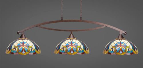 """Toltec Bow 3-Light Bar in Bronze Finish with 16"""" Earth Star Art Glass"""