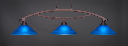"""Toltec Bow 3-Light Bar in Bronze Finish with 16"""" Blue Italian Glass"""