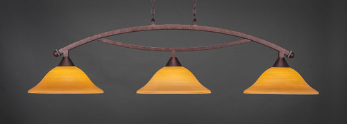 """Toltec Bow 3-Light Bar in Bronze Finish with 16"""" Cayenne Linen Glass"""