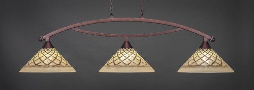 """Toltec Bow 3-Light Bar in Bronze Finish with 16"""" Chocolate Icing Glass"""
