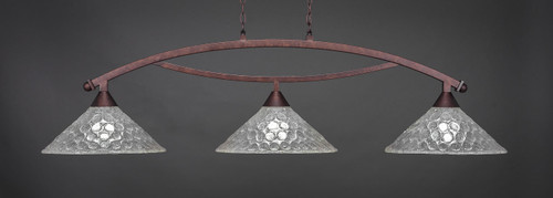 """Toltec Bow 3-Light Bar in Bronze Finish with 16"""" Italian Bubble Glass"""