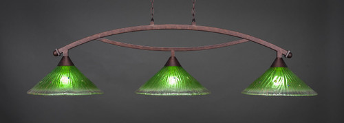 """Toltec Bow 3-Light Bar in Bronze Finish with 16"""" Kiwi Green Crystal Glass"""