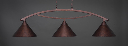 """Toltec Bow 3-Light Bar in Bronze Finish with 14"""" Bronze Cone Metal Shades."""