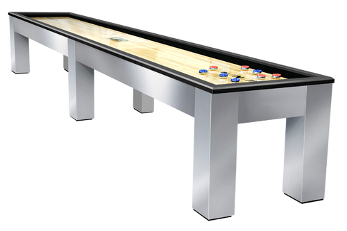 Olhausen Madison Shuffleboard Brushed Aluminum with Matte Black Laquer Rails