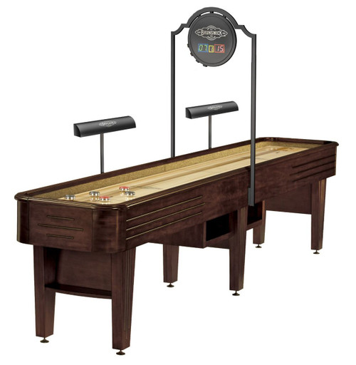Brunswick Andover Shuffleboard Table Espresso Scoring and Lights