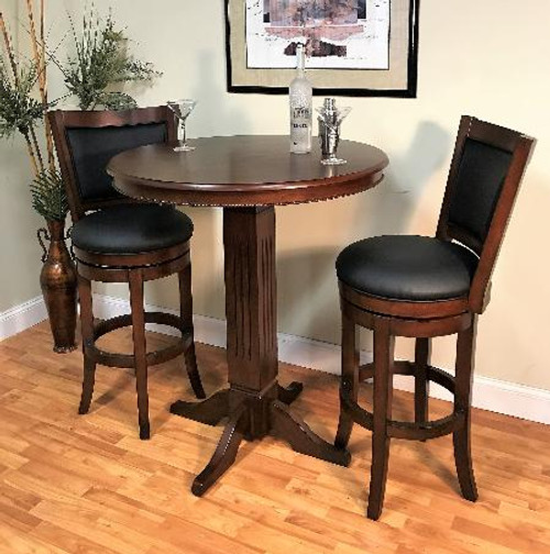 "ECI Distressed Walnut 36"" Round Pub Table"