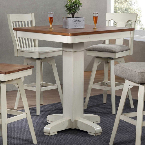 "ECI Choices Antique White 36"" Square Pub Table"