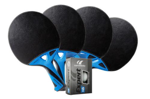 Cornilleau NEXEO X90 Carbon Weatherproof Table Tennis 4-Player Racket Set