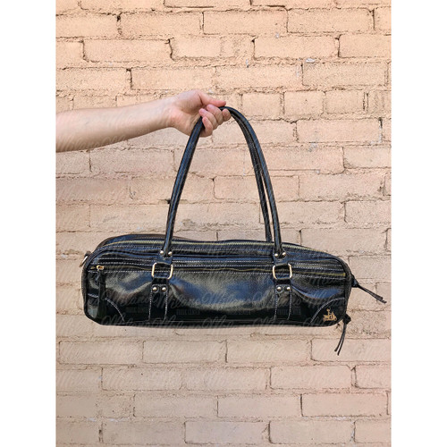 Fluterscooter Black Patent Leather Flute Bag