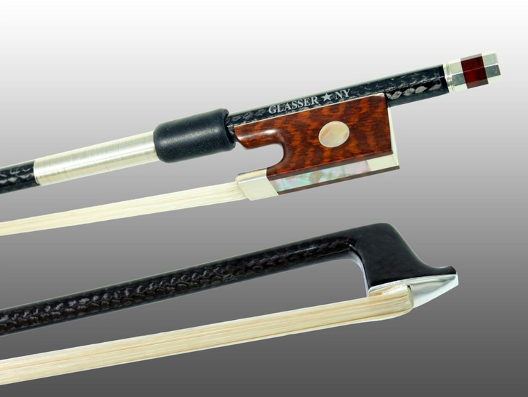 Glasser Braided Carbon Fiber Sterling Violin Bow with Octagon Stick
