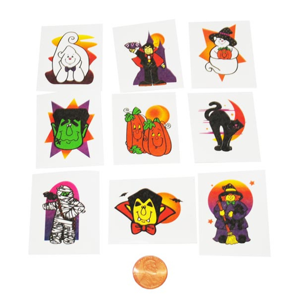 Glitter Halloween Tattoos (144 total tattoos in 2 packages) 5¢ each