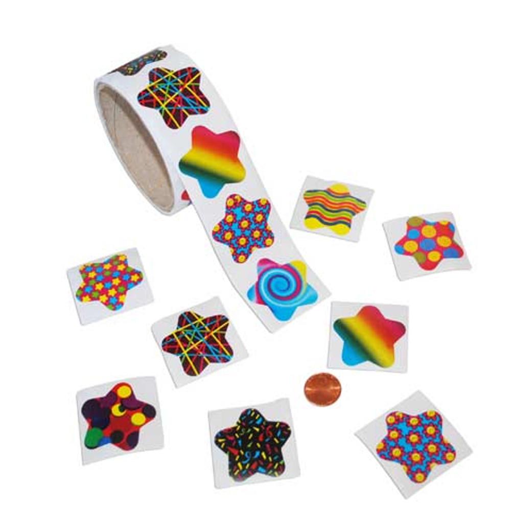 Funky Star Sticker Roll (100/stickers per roll) 3¢ each