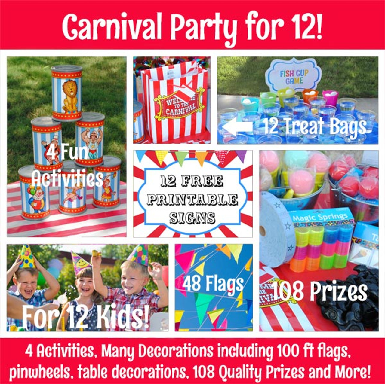 Sold Out Kids Carnival Themed Party Set For 12 Guests