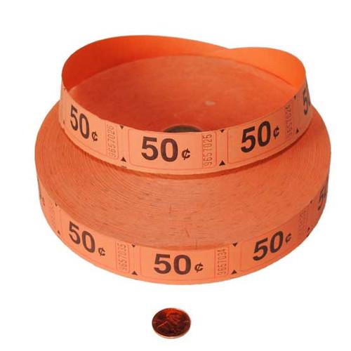 Orange 50 cent Ticket Roll -- Wholesale 2000 Tickets