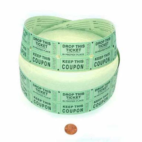 Green Double Roll Tickets (2000 double tickets/roll)