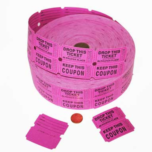 Hot Pink Double Roll Tickets (2000 double tickets/roll )