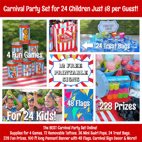 Carnival Themed Birthday Party Set - Games, Decorations, Treat Bags & More!