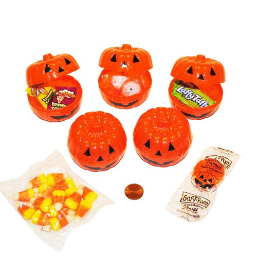 Pumpkin Containers Filled with Candy