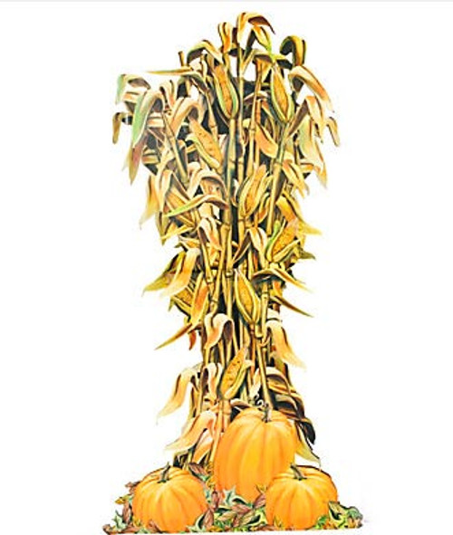 Corn Stalk Decoration Ideas: Harvest Corn And Pumpkin Stand Up